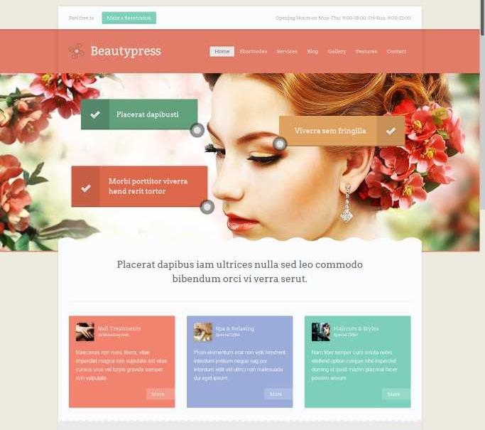 massage salon WordPress Web design